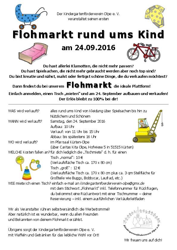 Flohmarkt rund ums Kind am 24.09.2016 in Kürten-Olpe