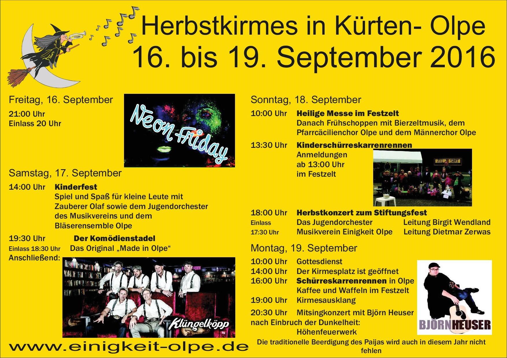 Musikverein Einigkeit Olpe - Herbstkirmes 2016
